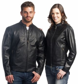 6057 Vented Black Leather Motorcycle Jacket